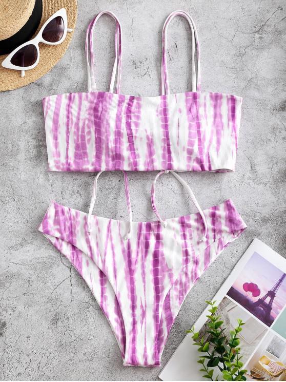 shops ZAFUL Ribbed Tie Dye Cinched Bikini Swimwear - PURPLE S