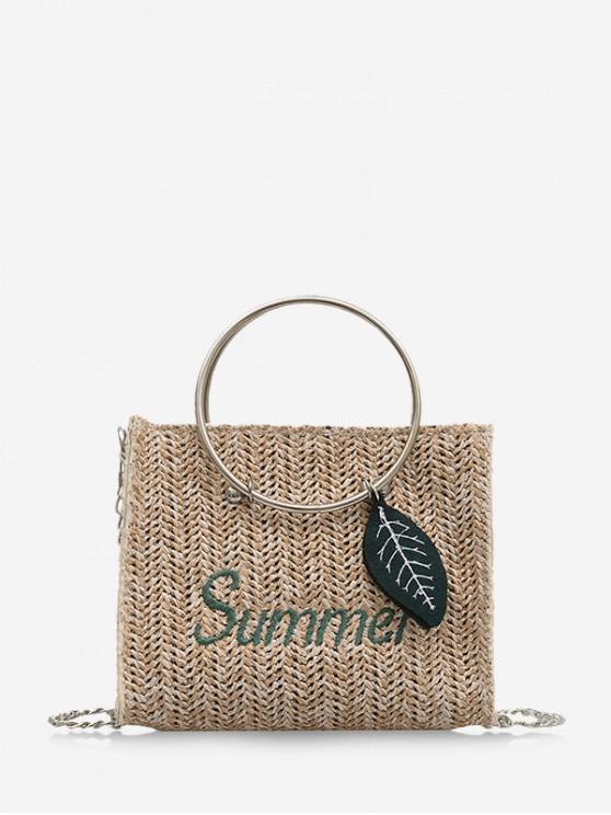 lady Letter Leaf Pattern Straw Handbag - COFFEE