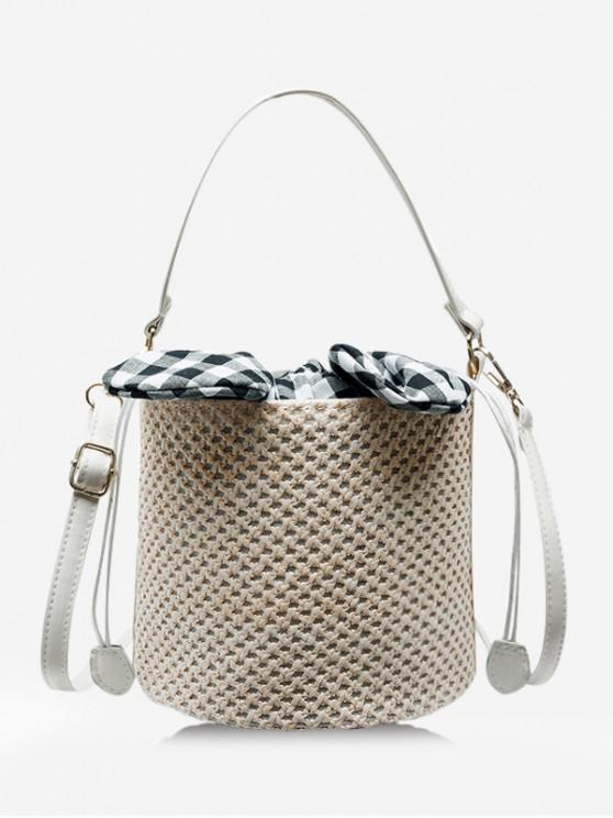 outfits Rabbit Ear Straw Drawstring Bucket Bag - LIGHT COFFEE