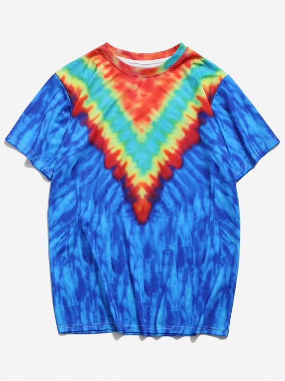 Camiseta de Tie Dye con Mangas Cortas con Estampado de Teñido - Azul de Arándanos 2XL