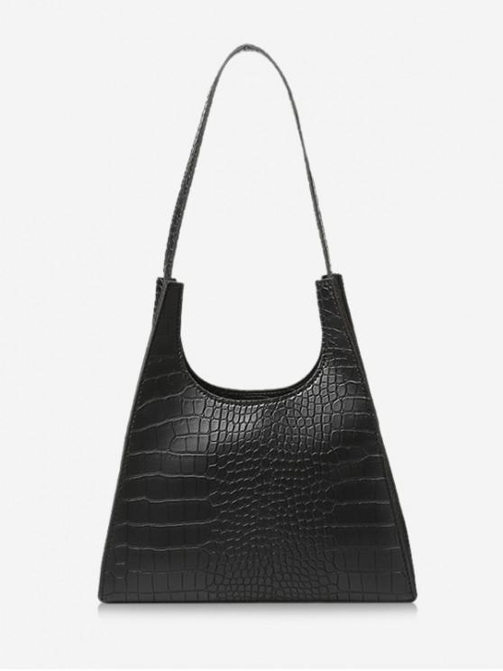 Retro Trapez Forma umăr geanta - Negru