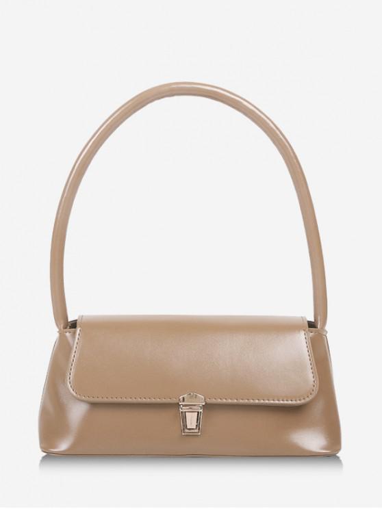 hot Retro Rectangle Solid Handbag - LIGHT COFFEE