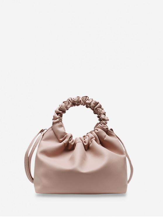 Mâner solid ruched sac de mână - Roz deschis