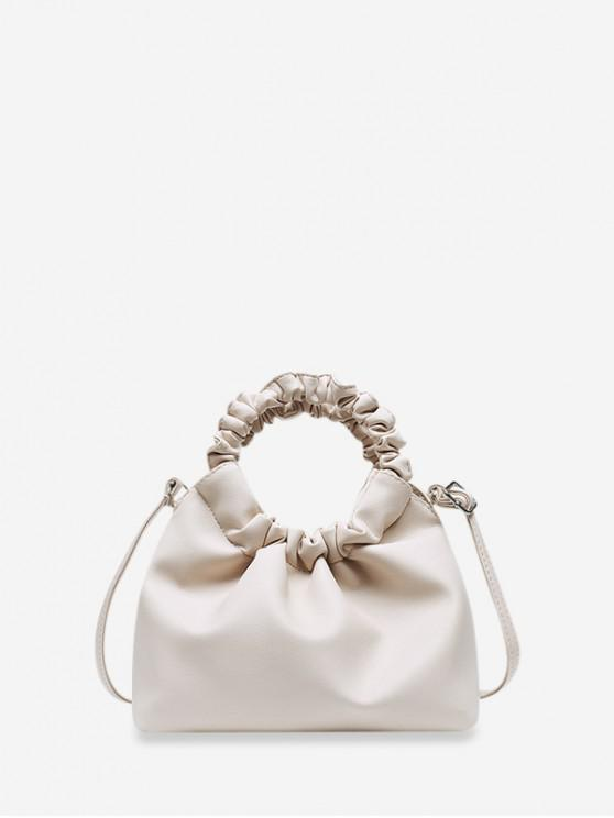 shops Solid Ruched Handle Hand Bag - WHITE