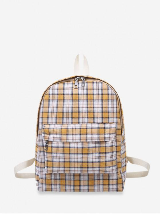 Plaid Print Canvas School Rucsac - Galben