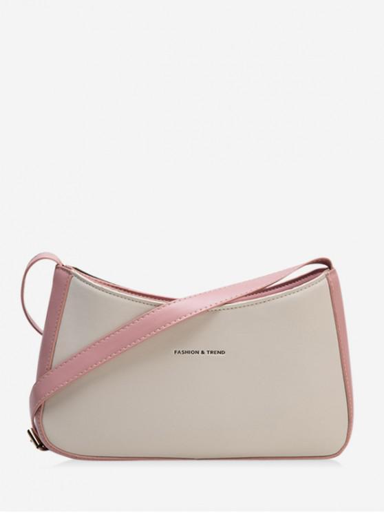 ladies Two Tone Casual Crossbody Bag - LIGHT PINK