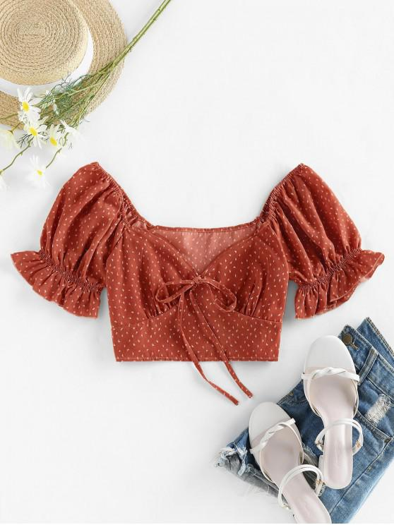 chic ZAFUL Bat Print Knotted Crop Blouse - CHOCOLATE S