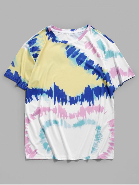 womens Colorful Painting Printed Casual T-shirt - MILK WHITE 3XL