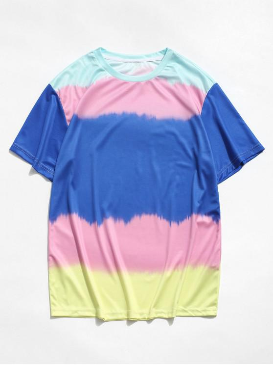 outfit Color Blocking Printed Short Sleeves T-shirt - BLUEBERRY BLUE 3XL