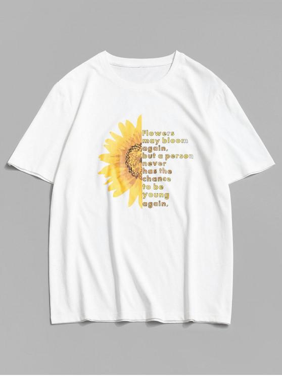 ZAFUL Kurzärmliges T-Shirt mit Blumenmuster - Weiß S