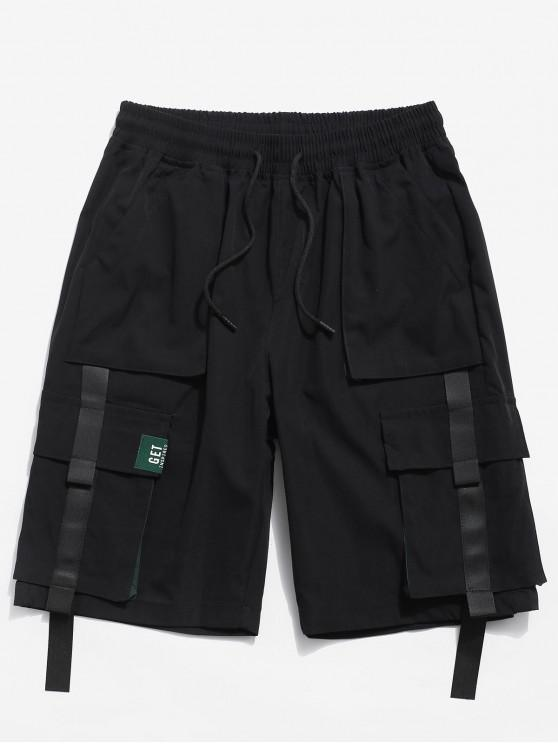 Color Spliced Pocket Decorated Shorts - أسود XS