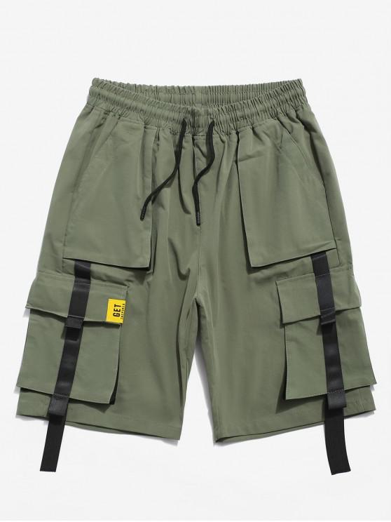 色スプライスポケット装飾ショーツ - アーミーグリーン 2XL