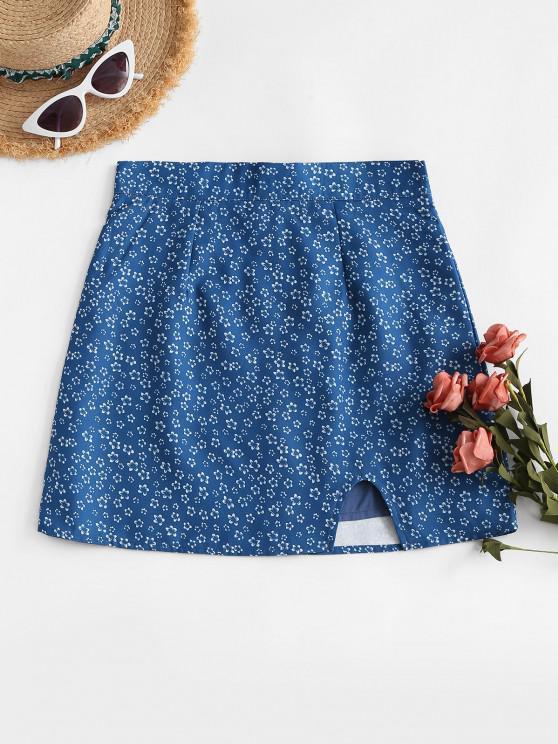 shops Notched Hem Ditsy Floral Mini Skirt - BLUE L