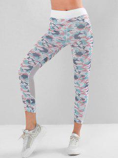 Mesh Panel High Waisted Camo Yoga Leggings - Multi-a M