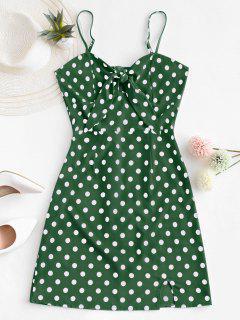 Polka Dot Knotted Slit Cami Summer Dress - Light Green S