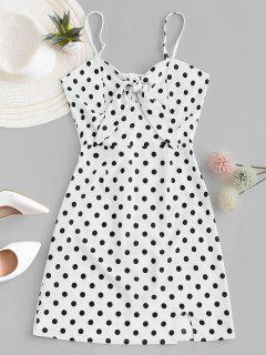 Polka Dot Knotted Slit Cami Summer Dress - White S