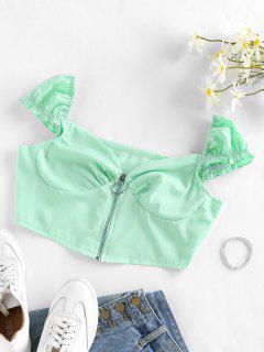 Zip Fly Puff Sleeve Crop Blouse - Light Green M