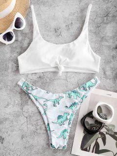 ZAFUL Ribbed Elephant Print Knotted Bikini Swimsuit - Light Green M
