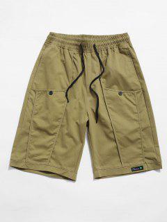 Letter Decoration Pocket Drawstring Shorts - Khaki Xs