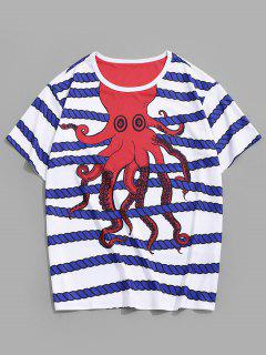 Cartoon Octopus Rope Striped Crew Neck Lounge T Shirt - White 2xl