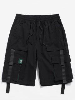 Color Spliced Pocket Decorated Shorts - Black Xs