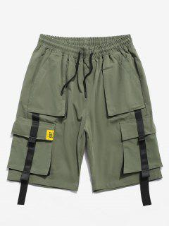 Color Spliced Pocket Decorated Shorts - Army Green Xl