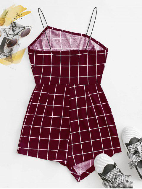 unique Bungee Strap Grid Romper - RED L Mobile