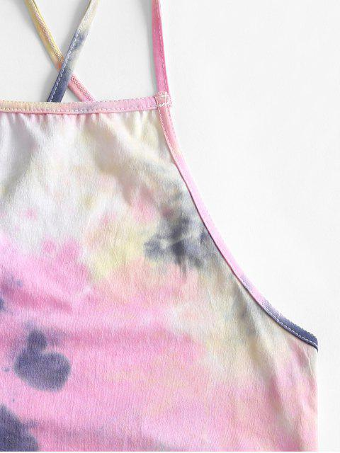 Crop Top di Tie-Dye con Lacci Incrociati - Blu L Mobile