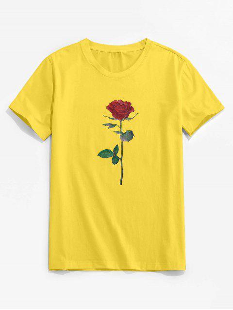 ZAFUL Rose Pattern Crew Neck Classic Tee - الأصفر 2XL Mobile