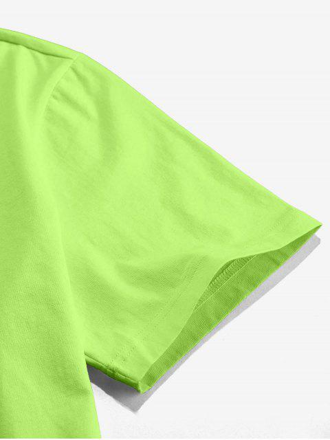 ZAFUL T-shirt Classique Motif de Rose à Col Rond - Vert Thé 2XL Mobile