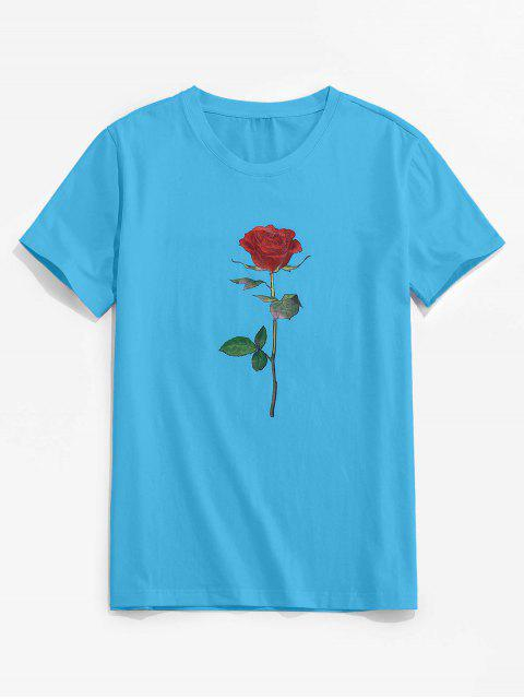 best ZAFUL Rose Pattern Crew Neck Classic Tee - DEEP SKY BLUE 2XL Mobile