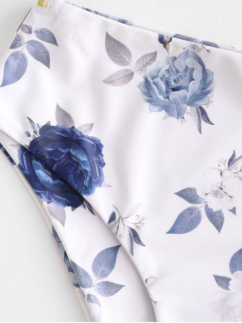 ZAFUL Blumendruck Schwimmen Unterteile mit Hoher Taille - Weiß M Mobile