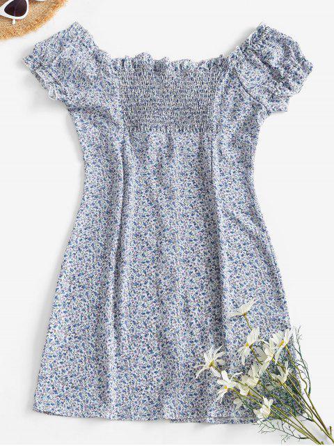ladies Ditsy Floral Button Front Frilled Tie Dress - LIGHT BLUE M Mobile