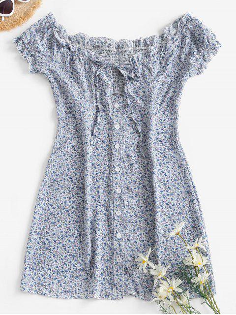 online Ditsy Floral Button Front Frilled Tie Dress - LIGHT BLUE L Mobile