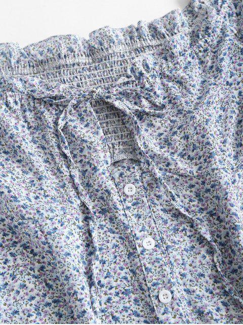 Robe FleurieNouéeBouton en Avant à Volants - Bleu clair L Mobile