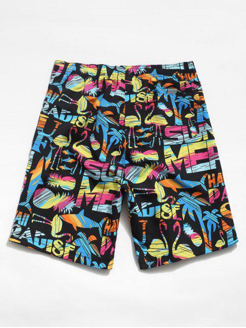 ladies Beach Graphic Animal Pattern Hawaii Shorts - BLACK 3XL Mobile