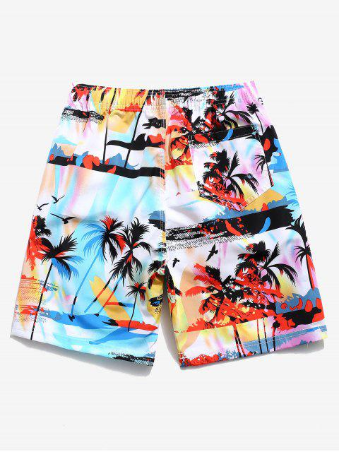online Palm Tree Landscape Graphic Board Shorts - LIGHT BLUE XL Mobile