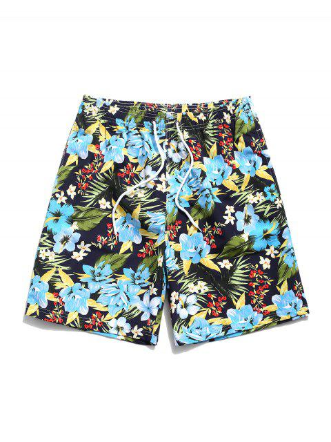 outfit Tropical Flower Leaf Print Hawaii Vacation Shorts - BLACK M Mobile
