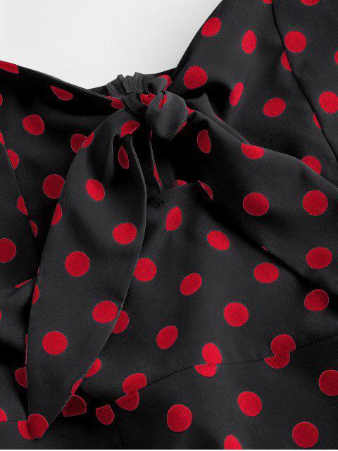 fancy Polka Dot Knotted Slit Cami Summer Dress - BLACK S Mobile