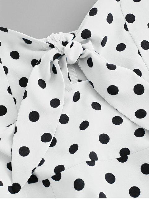 unique Polka Dot Knotted Slit Cami Summer Dress - WHITE XL Mobile
