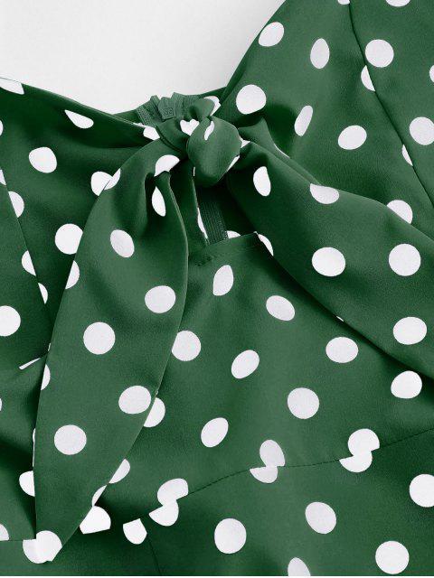 Robe d'Eté Fendue Nouée à Pois à Bretelle - Vert clair XL Mobile