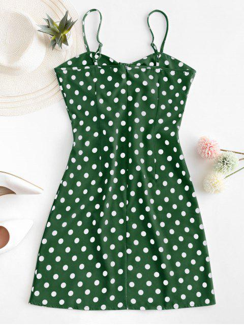 hot Polka Dot Knotted Slit Cami Summer Dress - LIGHT GREEN M Mobile