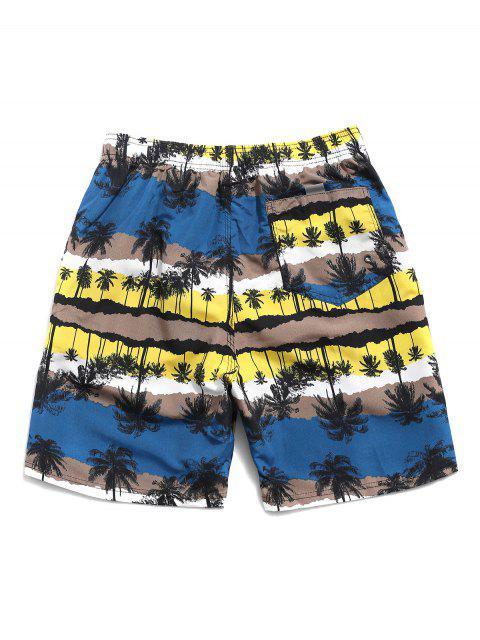 women's Palm Tree Print Vacation Beach Shorts - YELLOW M Mobile