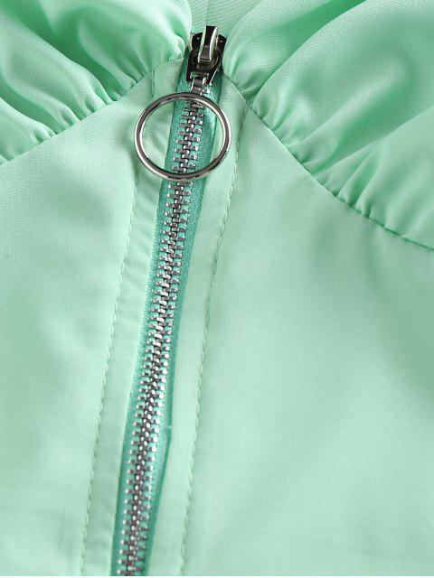 unique Zip Fly Puff Sleeve Crop Blouse - LIGHT GREEN L Mobile