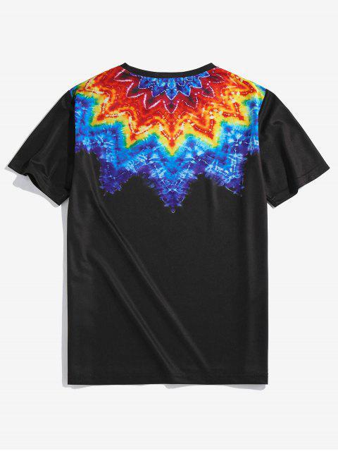 lady ZAFUL Tie Dye Printed Short Sleeves T-shirt - BLACK XL Mobile