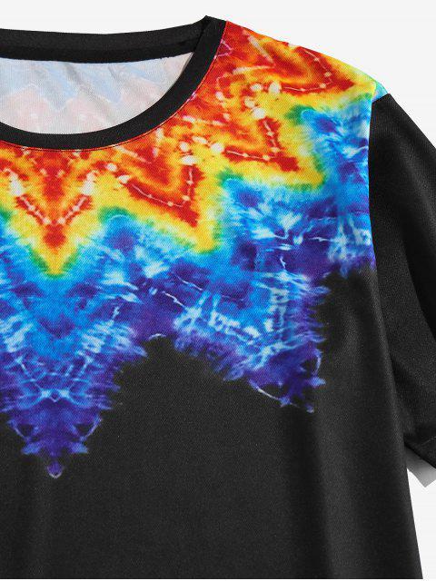 Maglietta di Tie-Dye con Maniche Corte di ZAFUL - Nero 2XL Mobile