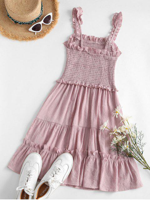 fashion Lettuce Trim Smocked Mini Dress - LIGHT PINK M Mobile