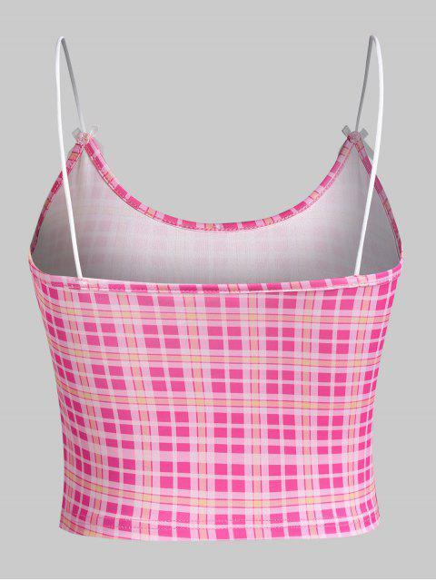 Top Cami Xadrez Laço - Luz rosa L Mobile