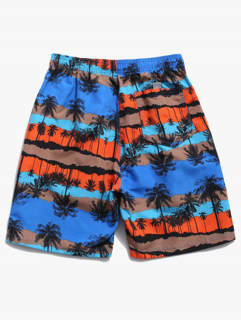 latest Palm Tree Graphic Print Board Shorts - BLUE M Mobile