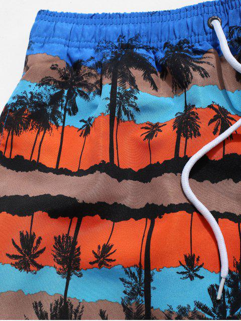 trendy Palm Tree Graphic Print Board Shorts - BLUE L Mobile